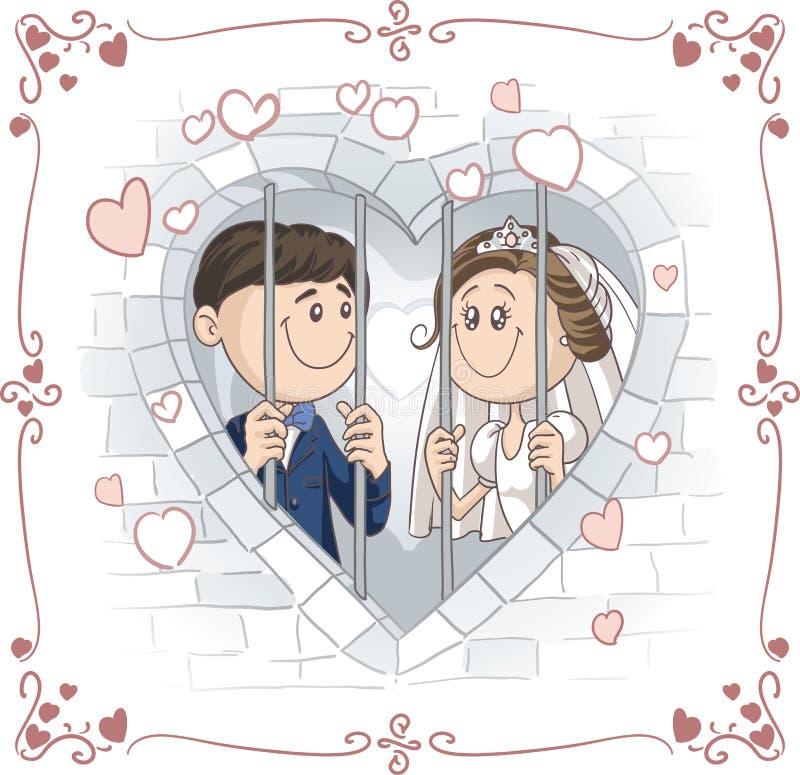 Ακριβώς παντρεμένο ζευγάρι στα διανυσματικά κινούμενα σχέδια φυλακών διανυσματική απεικόνιση