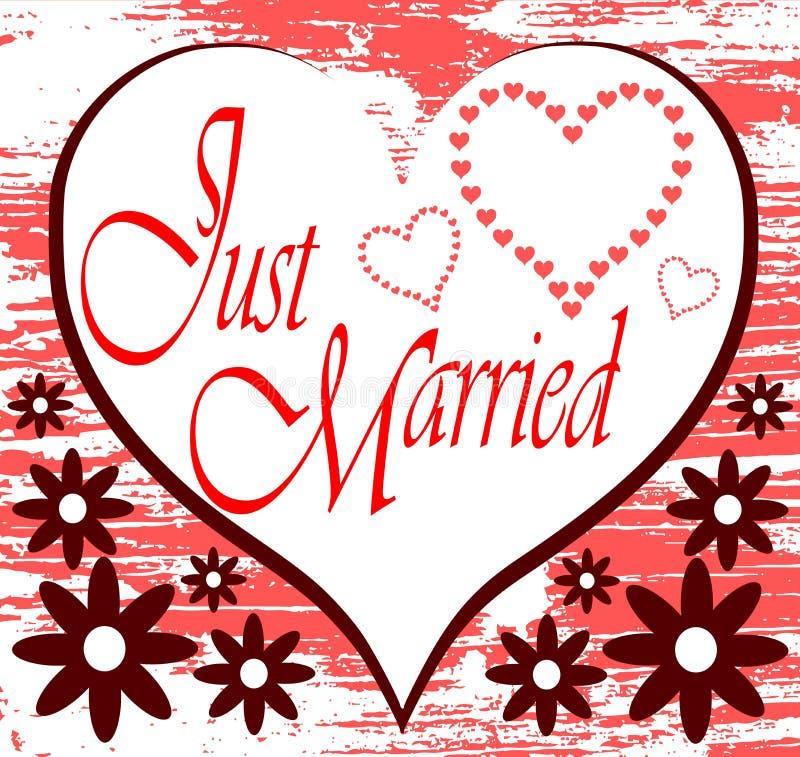 Ακριβώς παντρεμένο υπόβαθρο με τις καρδιές διανυσματική απεικόνιση
