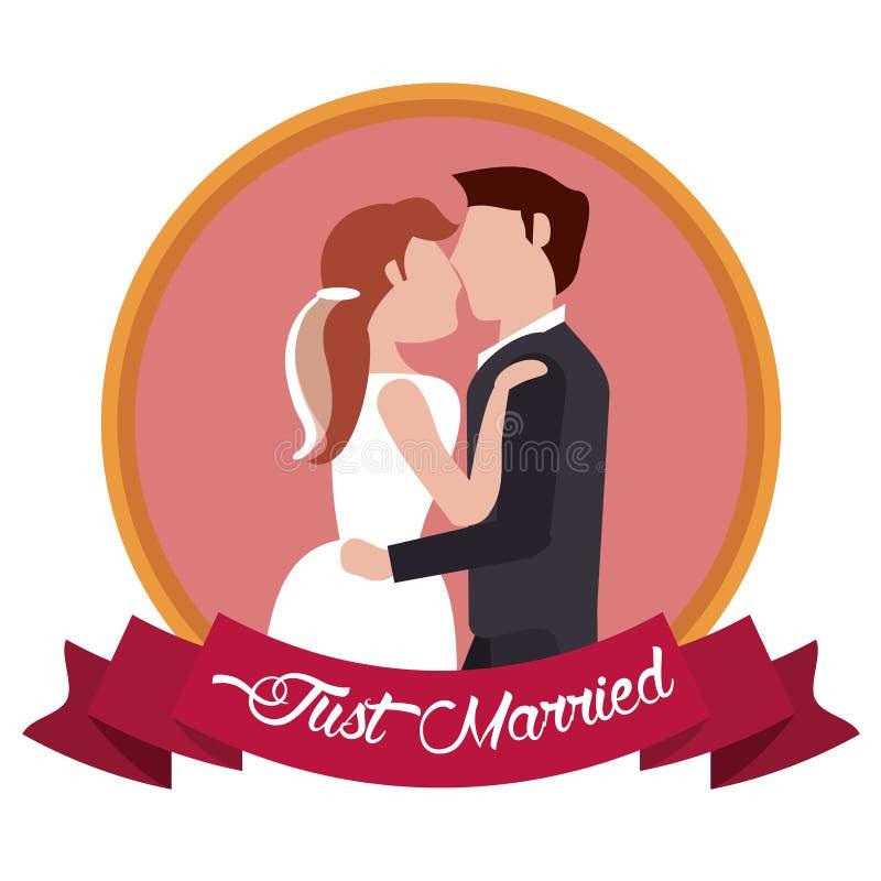 ακριβώς το παντρεμένο ζευγάρι αγκαλίασε την ετικέτα διανυσματική απεικόνιση