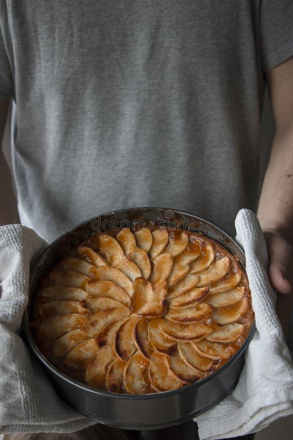 Ακριβώς ψημένο κέικ μήλων στοκ εικόνα