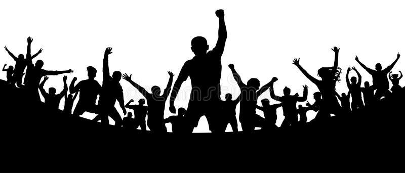 Ακροατήριο αθλητικών ανεμιστήρων Στάδιο στόχου ποδοσφαίρου Οι εύθυμοι άνθρωποι συσσωρεύουν την επιδοκιμασία, σκιαγραφία ελεύθερη απεικόνιση δικαιώματος