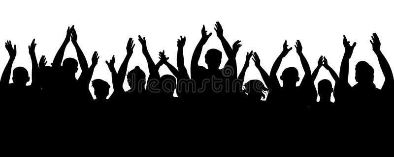 Ακροατήριο επιδοκιμασίας Άνθρωποι πλήθους ενθαρρυντικοί, χέρια ευθυμίας επάνω Εύθυμοι ανεμιστήρες όχλου που επιδοκιμάζουν, χτύπημ διανυσματική απεικόνιση