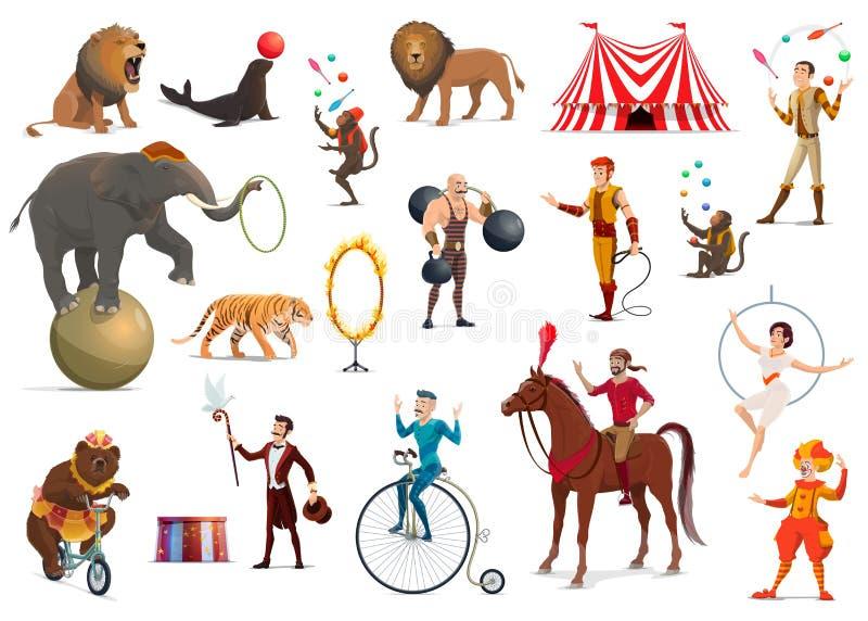 Ακροβάτης τσίρκων, κλόουν, εκπαιδευμένα ζώα, μάγος ελεύθερη απεικόνιση δικαιώματος
