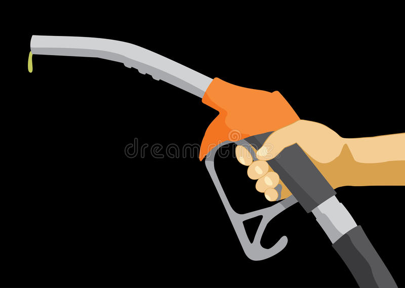 Ακροφύσιο καυσίμων εκμετάλλευσης χεριών απεικόνιση αποθεμάτων