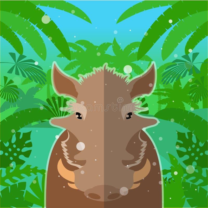 Ακροχορδώνας-γουρούνι στο υπόβαθρο ζουγκλών διανυσματική απεικόνιση