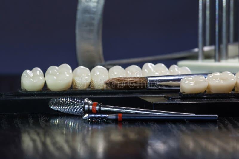 Ακρυλικά δόντια και οδοντικά όργανα Μασώντας ομάδα δοντιών στοκ εικόνες