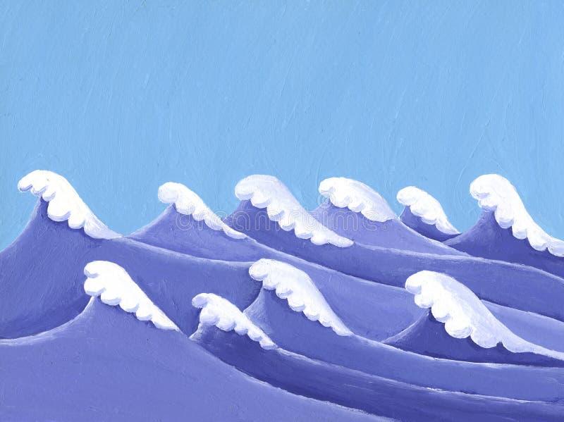 Ακρυλική ζωγραφική κυμάτων θάλασσας στοκ εικόνες με δικαίωμα ελεύθερης χρήσης