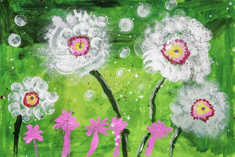 Ακρυλική ζωγραφική Childs των λουλουδιών απεικόνιση αποθεμάτων