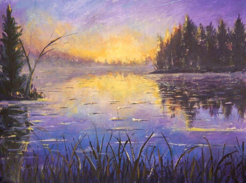 Ακρυλικό μπλε ιώδες πορφυρό πρωί ζωγραφικής στον ποταμό Ανατολή στο νερό πέρα από το ηλιοβασίλεμα π&o Αντανάκλαση στο νερό αγροτι διανυσματική απεικόνιση