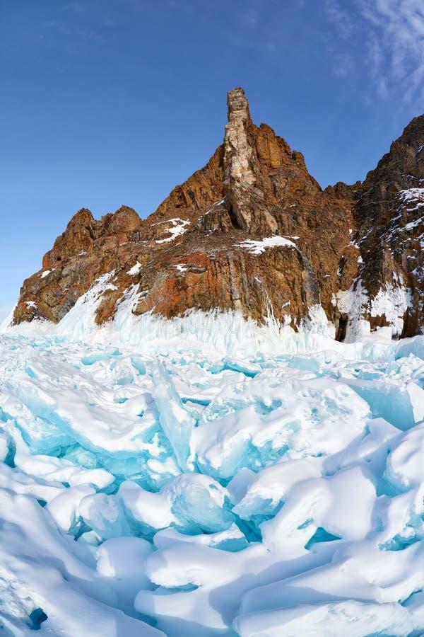 Ακρωτήριο Hoboi Baikal στη λίμνη στοκ εικόνα