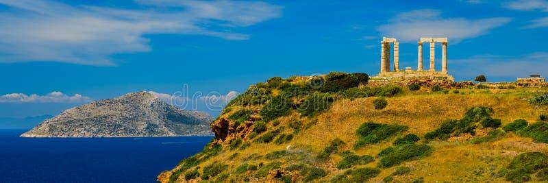 Ακρωτήριο Sounion πανοράματος στην Ελλάδα στοκ εικόνα με δικαίωμα ελεύθερης χρήσης