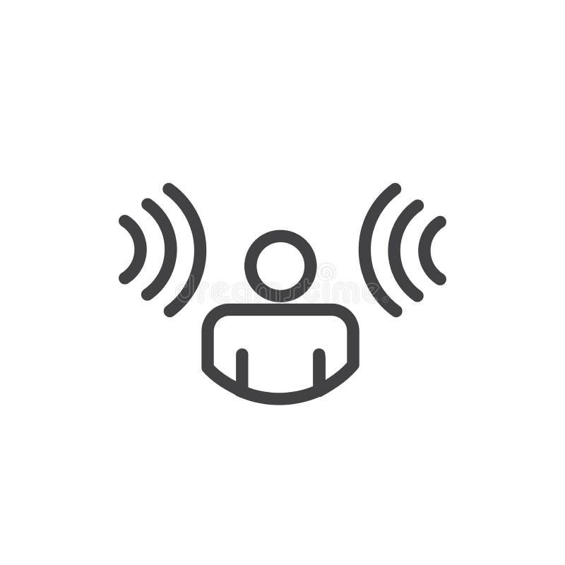 Ακρόαση προσώπων soundwaves που προέρχεται μέσα και από τις δύο πλευρές - reco φωνής απεικόνιση αποθεμάτων