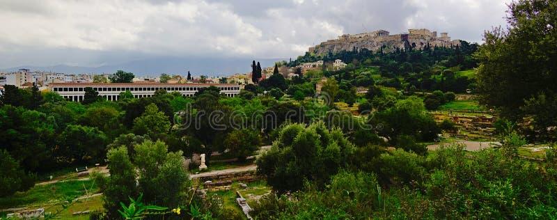 Ακρόπολη, πανόραμα της Αθήνας, Ελλάδα στοκ εικόνες