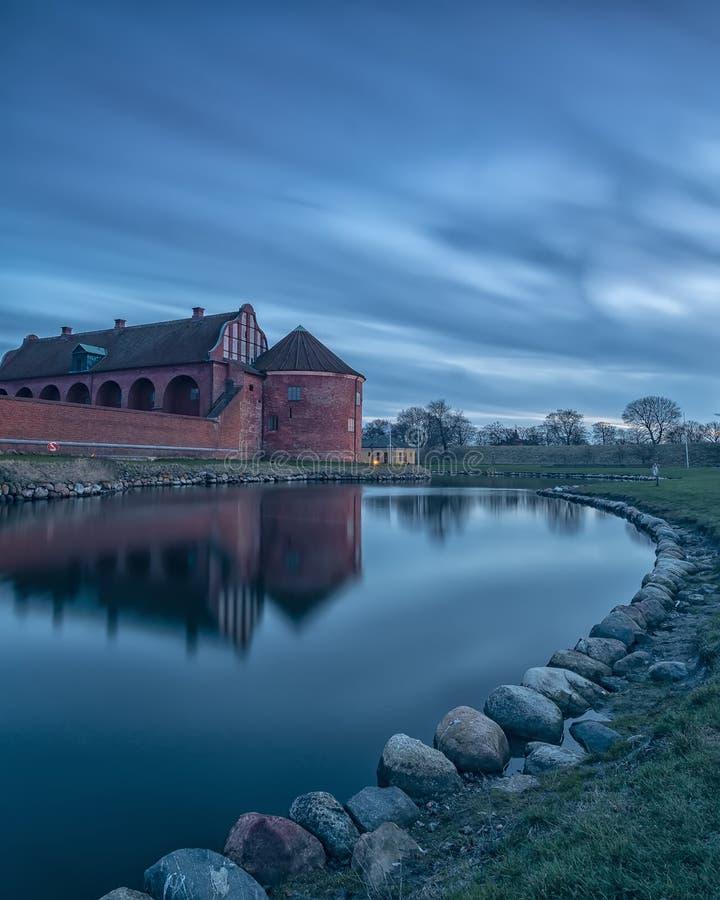Ακρόπολη Landskrona στην μπλε ώρα στοκ εικόνες