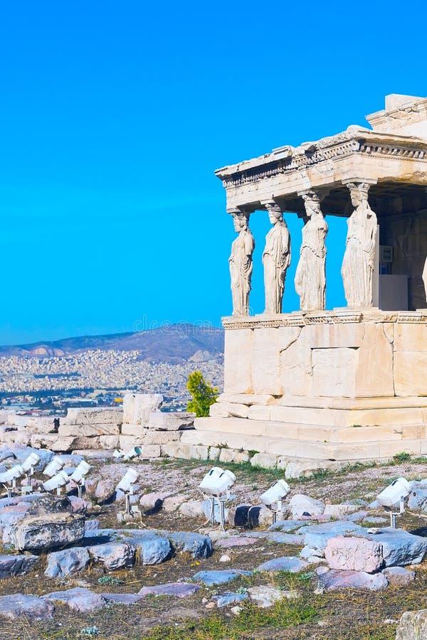 Ακρόπολη, ναός Erechtheum στην Αθήνα, Ελλάδα στοκ εικόνα