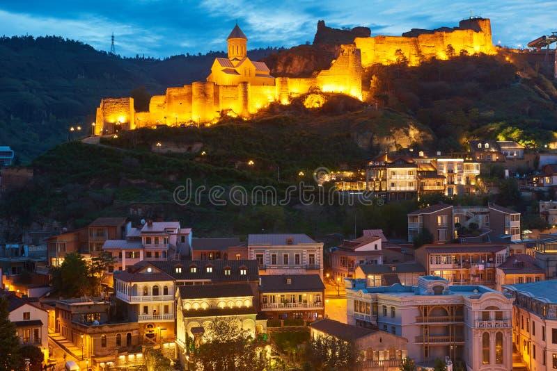 Ακρόπολη Narikala Πανοραμική άποψη του Tbilisi στη Γεωργία στοκ εικόνες