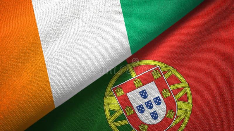 Ακτή Ελεφαντοστού και Πορτογαλία δύο υφαντικό ύφασμα σημαιών, σύσταση υφάσματος διανυσματική απεικόνιση