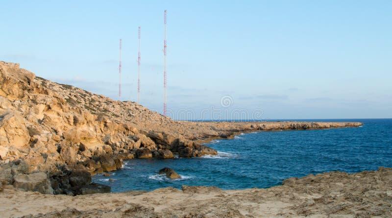Ακτή ηλιοβασιλέματος στο ακρωτήριο Greco ακρωτηρίων στοκ εικόνες