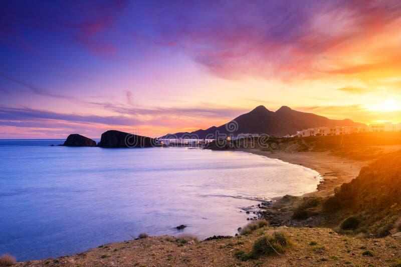 Ακτή Λα Isleta del Moro του φυσικού πάρκου Cabo de Gata στοκ εικόνα με δικαίωμα ελεύθερης χρήσης