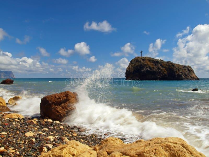Ακτή Μαύρης Θάλασσας της Κριμαίας κοντά στο ακρωτήριο Fiolent στοκ εικόνες με δικαίωμα ελεύθερης χρήσης