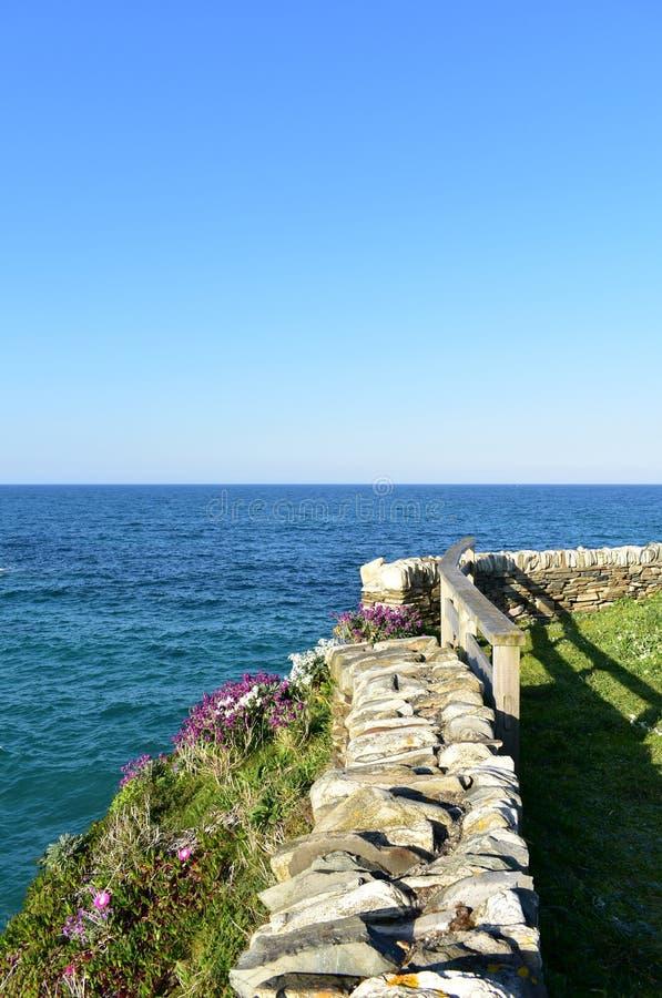 Ακτή με τη χλόη, τα λουλούδια και την άποψη με τον τοίχο πετρών και το ξύλινο κιγκλίδωμα Μπλε θάλασσα, ηλιόλουστη ημέρα, Ribadeo, στοκ φωτογραφία με δικαίωμα ελεύθερης χρήσης