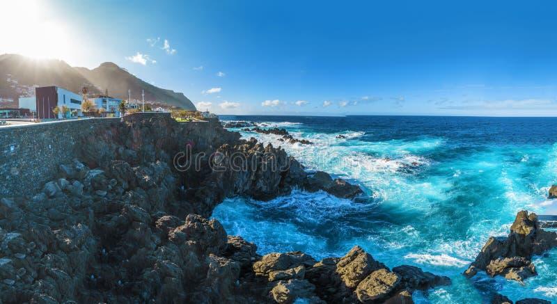 Ακτή στο Πόρτο Moniz, νησί της Μαδέρας, Πορτογαλία στοκ φωτογραφία με δικαίωμα ελεύθερης χρήσης