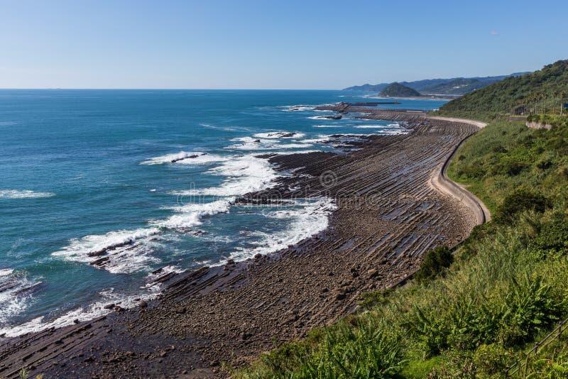 Ακτή Nichinan από το Phoenix, άποψη στο Μιγιαζάκι, Kyushu, στοκ φωτογραφία με δικαίωμα ελεύθερης χρήσης