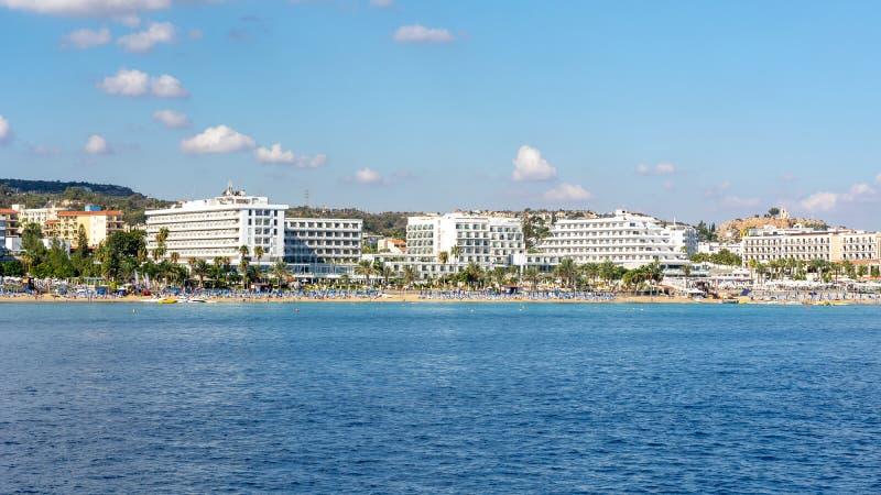 Ακτή Protaras με τα ξενοδοχεία και τις παραλίες, Κύπρος στοκ εικόνες