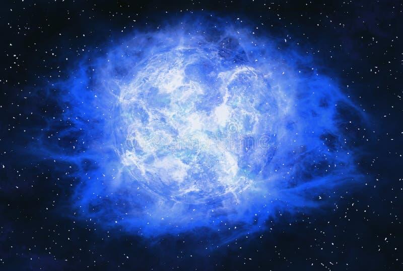 Ακτίνα ακτίνων του καυτού πλανήτη στα διαστημικά υπόβαθρα αστεριών ελεύθερη απεικόνιση δικαιώματος