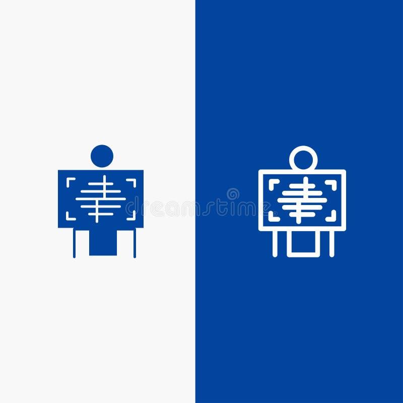 Ακτίνα X, ασθενής, νοσοκομείο, ακτινολογία, γραμμή και στερεά γραμμή εμβλημάτων εικονιδίων Glyph μπλε και στερεό μπλε έμβλημα εικ απεικόνιση αποθεμάτων