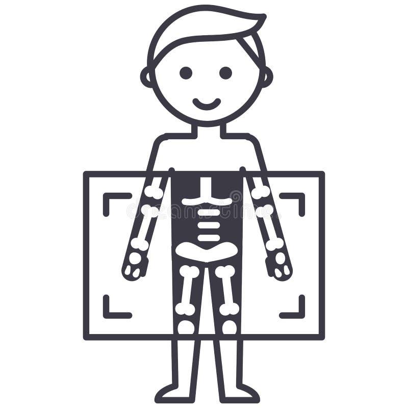 Ακτίνα X, ιατρικό διαγνωστικών εικονίδιο γραμμών ατόμων διανυσματικό, σημάδι, απεικόνιση στο υπόβαθρο, editable κτυπήματα απεικόνιση αποθεμάτων