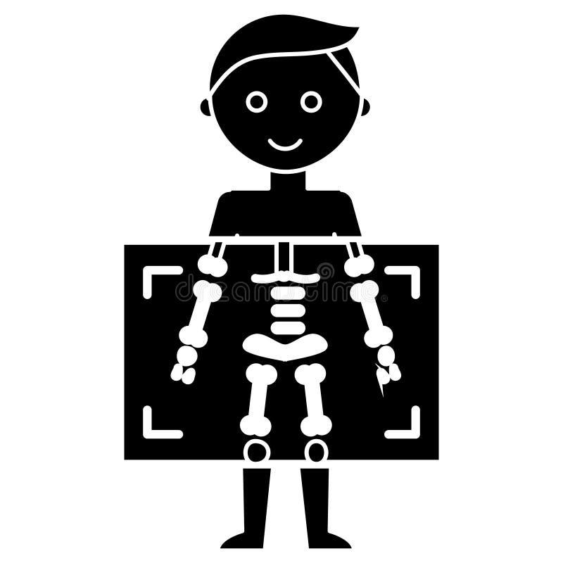 Ακτίνα X - ιατρικό εικονίδιο ατόμων διαγνωστικών, διανυσματική απεικόνιση, μαύρο σημάδι στο απομονωμένο υπόβαθρο διανυσματική απεικόνιση