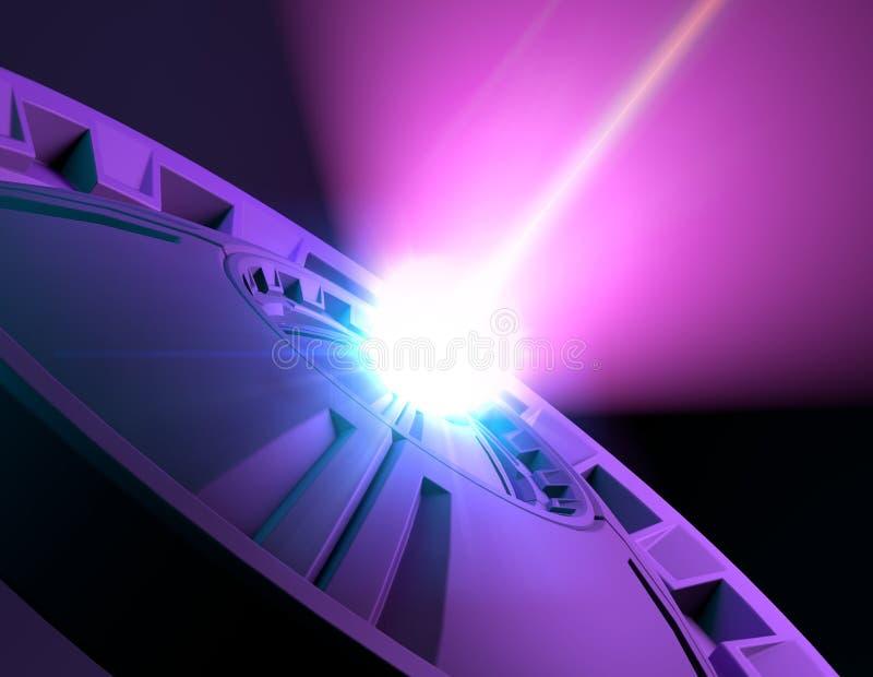 Ακτίνα λέιζερ και παραβολή, sci-Fi, επιστημονική φαντασία και τεχνολογία, χτύπημα Ακτίνα της ελαφριάς, channeling ενέργειας, ενερ ελεύθερη απεικόνιση δικαιώματος