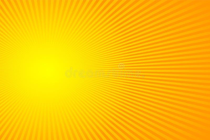 Ακτίνες ήλιων, ηλιοφάνεια στο κίτρινο και πορτοκαλί υπόβαθρο χρώματος Διανυσματικό σχέδιο θερινού υποβάθρου απεικόνισης διανυσματική απεικόνιση