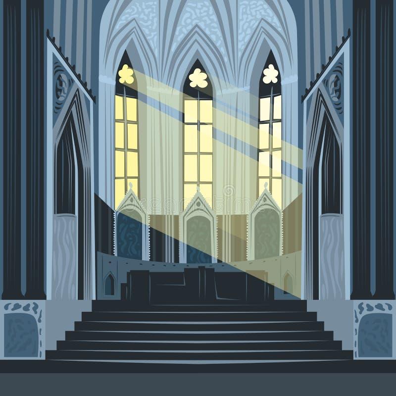 Ακτίνες ήλιων μέσα στην εκκλησία ή τη βασιλική καθεδρικών ναών ελεύθερη απεικόνιση δικαιώματος