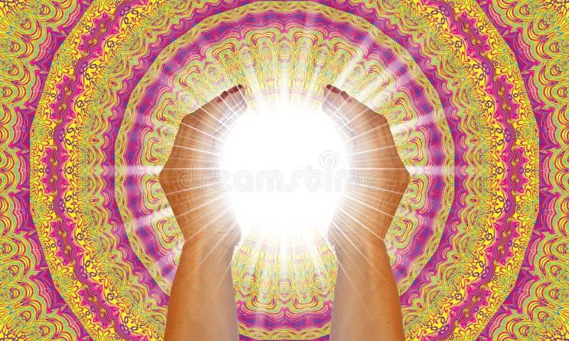Ακτίνες του άσπρου φωτός μεταξύ των χεριών μιας γυναίκας διανυσματική απεικόνιση