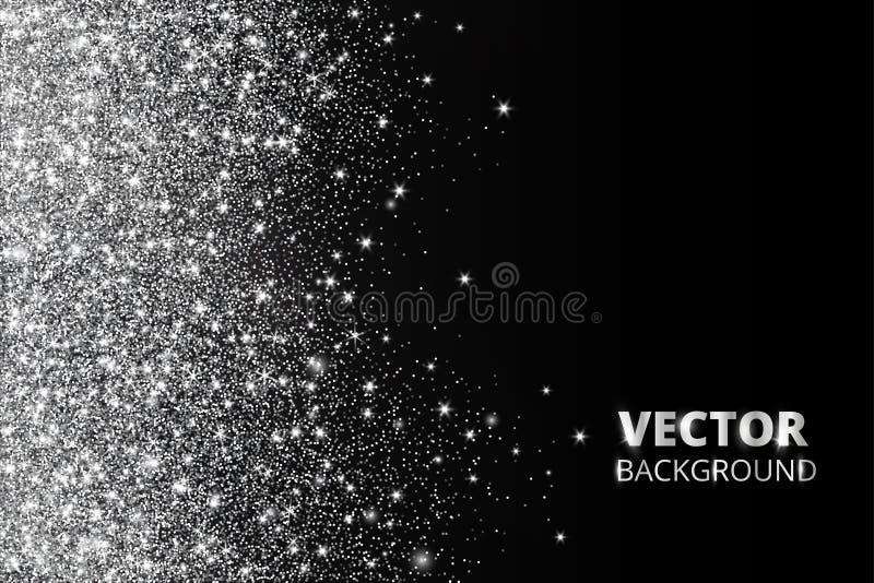 Ακτινοβολήστε κομφετί, χιόνι που πέφτει από την πλευρά Διανυσματική ασημένια σκόνη, έκρηξη στο μαύρο υπόβαθρο Το σπινθήρισμα ακτι ελεύθερη απεικόνιση δικαιώματος