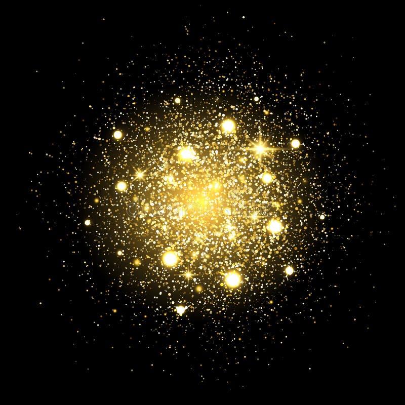 ακτινοβολήστε υπόβαθρο μορίων Ο χρυσός ακτινοβολεί έκρηξη σκονών Σκόνη αστεριών στο μαύρο σκηνικό Χρυσή παφλασμός μορίων ή shimme διανυσματική απεικόνιση