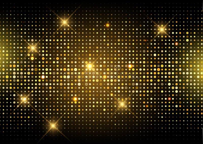 Ακτινοβολήστε χρυσό υπόβαθρο φω'των disco απεικόνιση αποθεμάτων