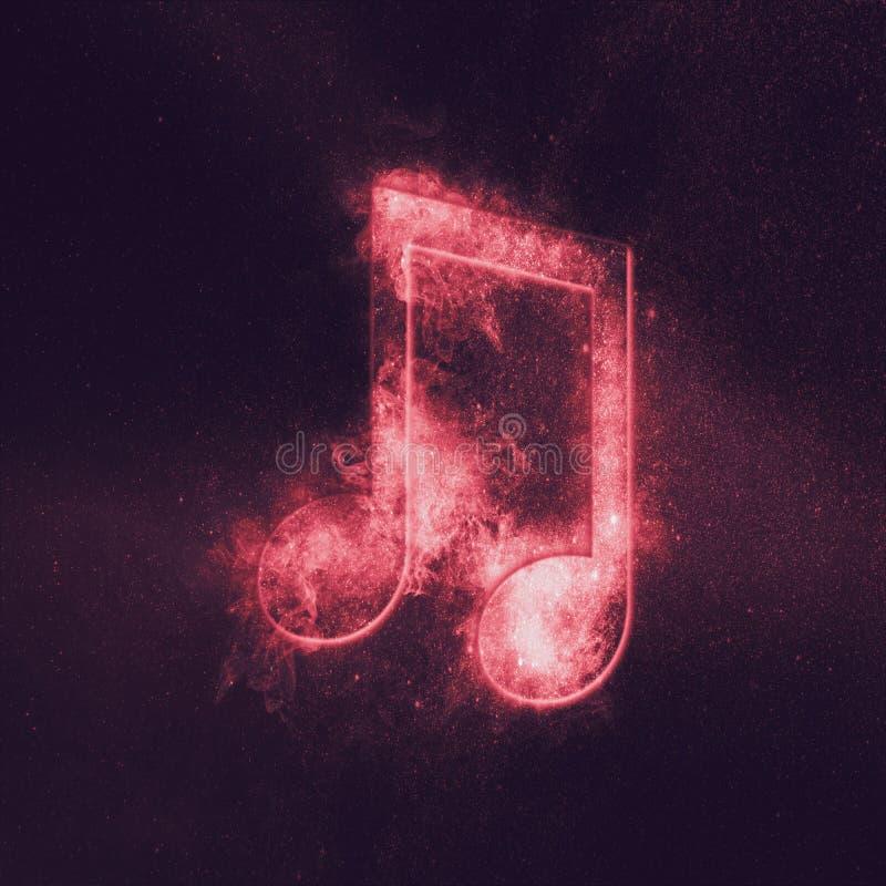 Ακτινοβολημένο σύμβολο σημειώσεων μουσικής οκτώ Αφηρημένο υπόβαθρο νυχτερινού ουρανού διανυσματική απεικόνιση