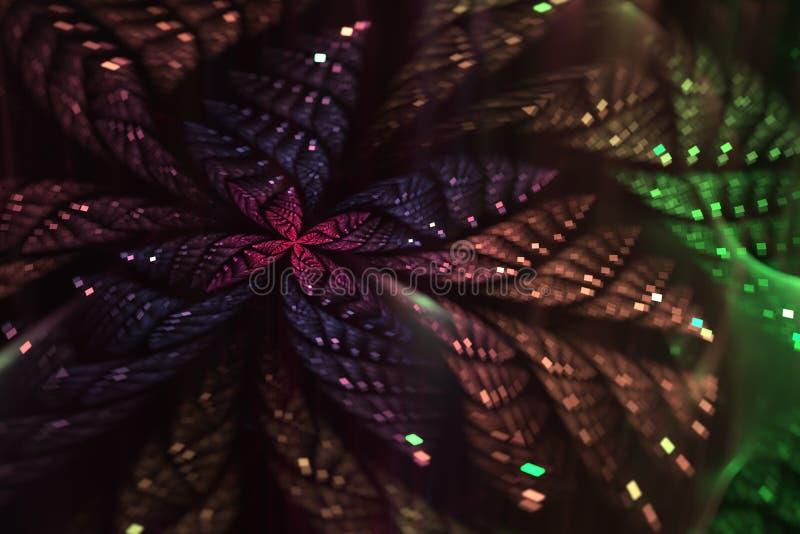 Ακτινοβολώντας αφηρημένη fractal πεταλούδα διανυσματική απεικόνιση