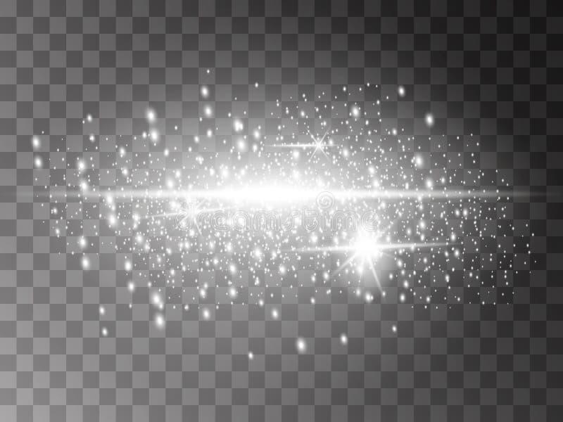 Ακτινοβολώντας λαμπιρίζοντας μόρια ιχνών σκόνης αστεριών στο διαφανές υπόβαθρο Διαστημική ουρά κομητών Διανυσματική απεικόνιση μό απεικόνιση αποθεμάτων