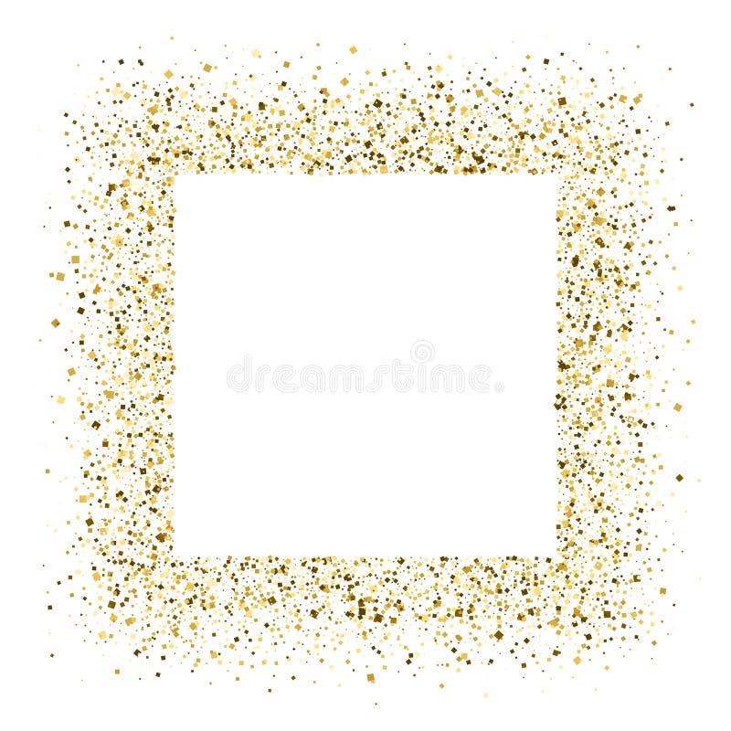 Ακτινοβολώντας πλαίσιο από τη λάμποντας χρυσή σκόνη που απομονώνεται στο άσπρο υπόβαθρο Η σύσταση με το χρυσό ακτινοβολεί Πρότυπο διανυσματική απεικόνιση