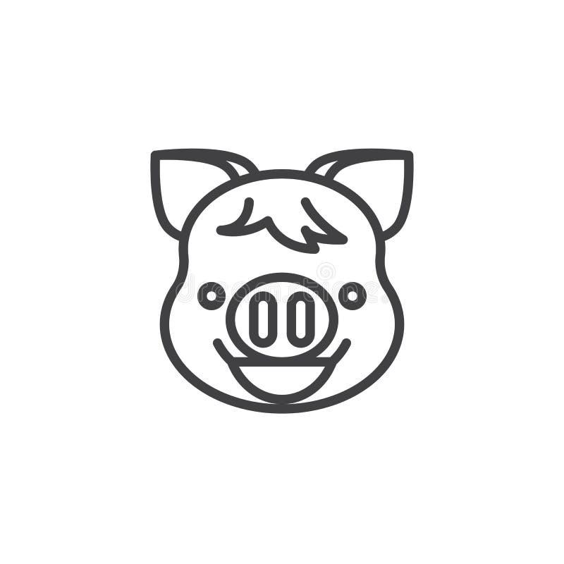Ακτινοβολώντας πρόσωπο Piggy με το εικονίδιο γραμμών emoji ματιών χαμόγελου ελεύθερη απεικόνιση δικαιώματος