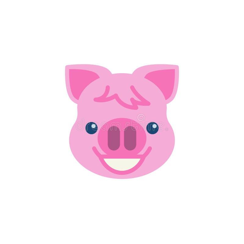 Ακτινοβολώντας πρόσωπο Piggy με το επίπεδο εικονίδιο emoji ματιών χαμόγελου απεικόνιση αποθεμάτων