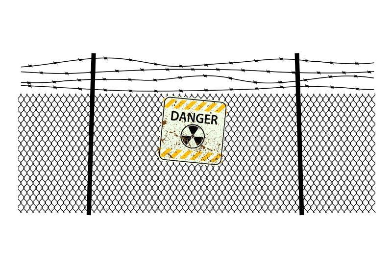 Ακτινοβολία σημαδιών στην περίφραξη χάλυβα με έναν οδοντωτό - καλώδιο ελεύθερη απεικόνιση δικαιώματος