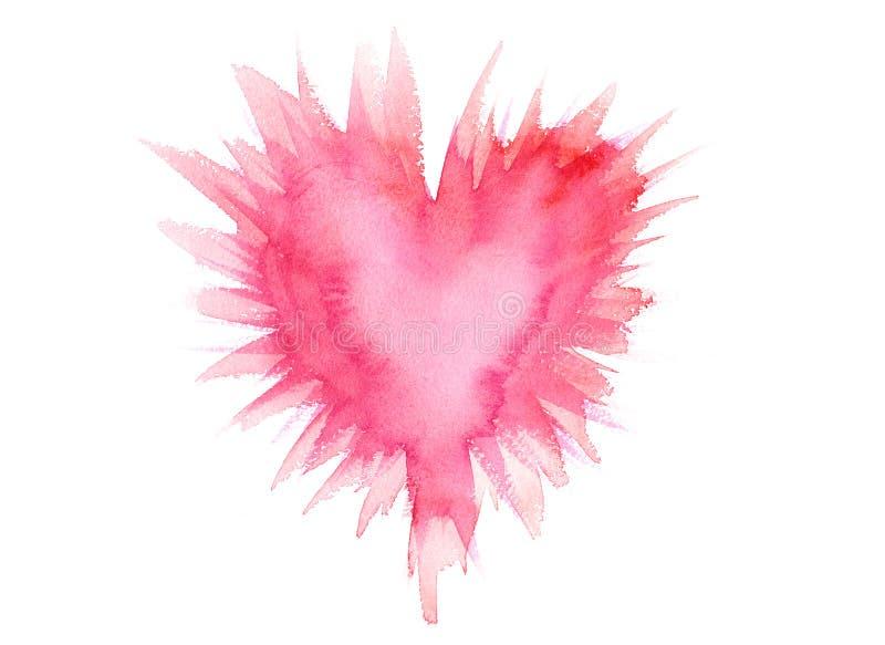 Ακτινοβολώντας ή ρόδινη ζωγραφική watercolor καρδιών ελεύθερη απεικόνιση δικαιώματος