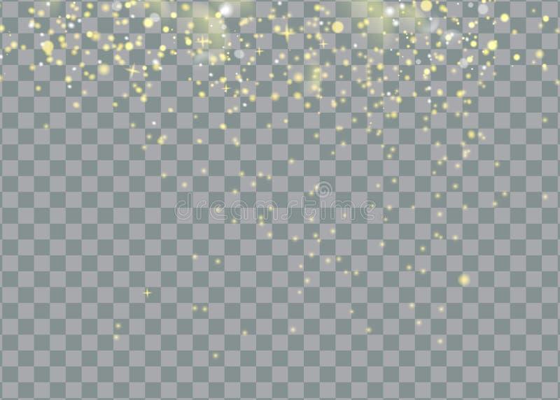 Ακτινοβολώντας λαμπιρίζοντας μόρια ιχνών σκόνης αστεριών στο διαφανές υπόβαθρο Διαστημική ουρά κομητών Διανυσματική μόδα γοητείας ελεύθερη απεικόνιση δικαιώματος