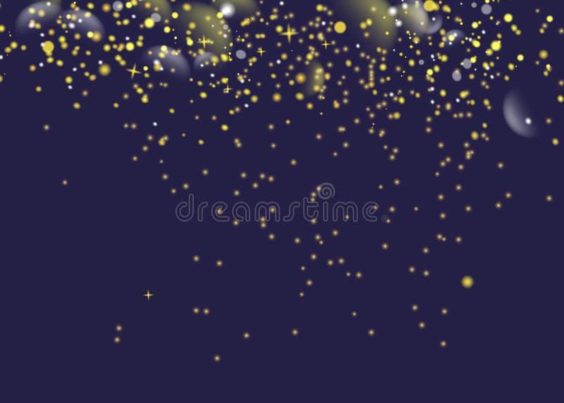 Ακτινοβολώντας χρυσά λαμπιρίζοντας μόρια ιχνών σκόνης αστεριών Διαστημική ουρά κομητών Διανυσματική απεικόνιση μόδας γοητείας απεικόνιση αποθεμάτων