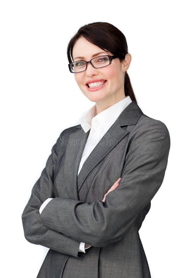 Ακτινοβόλος επιχειρηματίας που φορά τα γυαλιά στοκ εικόνες με δικαίωμα ελεύθερης χρήσης